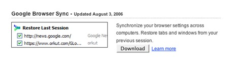 Goolge Browser Syncのダウンロード