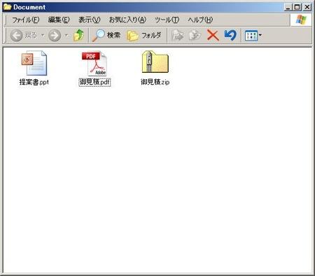 作成されたZIPファイル