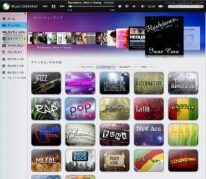 Music Unlimited のパソコン版の画面
