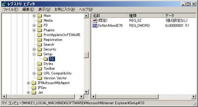 IE7 Blocker Toolkitのレジストリ情報